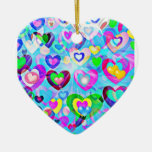 Pastel hearts and shapes colorful holiday ornament