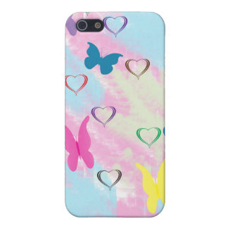 Pastel Hearts & Butterflies Cover For iPhone SE/5/5s