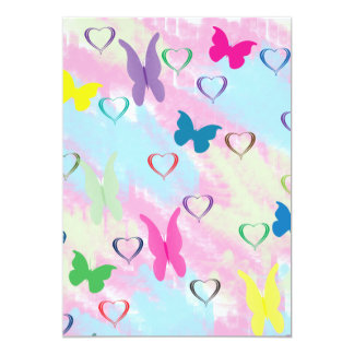 Pastel Hearts & Butterflies Personalized Invitation