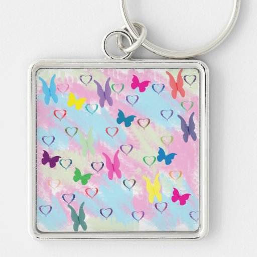 Pastel Hearts & Butterflies Silver-Colored Square Keychain