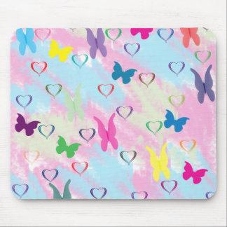 Pastel Hearts & Butterflies Mouse Pads