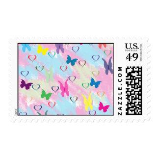 Pastel Hearts & Butterflies Postage