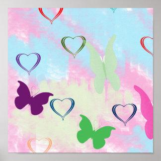 Pastel Hearts & Butterflies Poster
