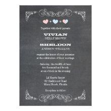 Pastel Hearts   Chalkboard Classy Wedding Invites