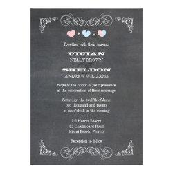 Pastel Hearts + Chalkboard Classy Wedding Invites