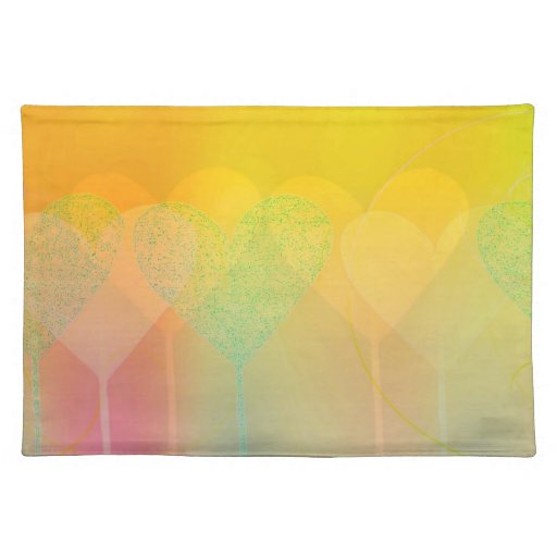 Pastel Hearts Cloth Place Mat