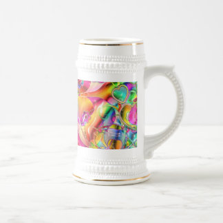 Pastel Hearts, Flowers and Clovers in Abstract For 18 Oz Beer Stein