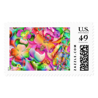Pastel Hearts, Flowers and Clovers in Abstract For Postage