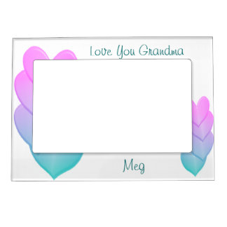 Pastel Hearts Magnetic Frame- personalize Magnetic Frame