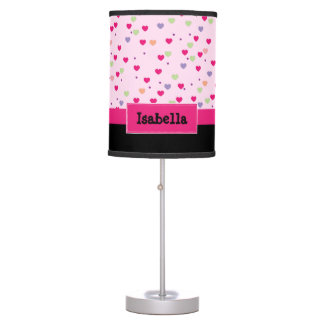 Pastel Hearts on Pink Personalized Desk Lamps