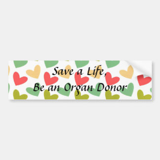 Pastel Hearts Organ Donor Bumper Sticker