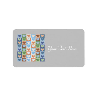 Pastel Hearts Pattern in Multi Colors. Label