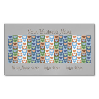 Pastel Hearts Pattern in Multi Colors. Magnetic Business Card