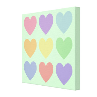 Pastel Hearts Wrapped Canvas Gallery Wrap Canvas