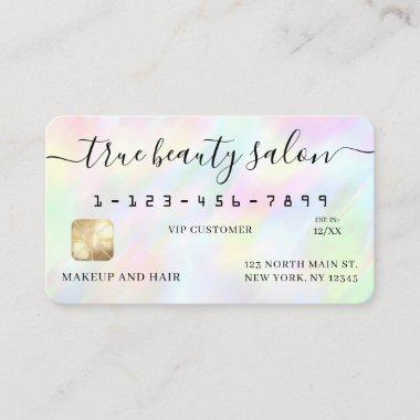 Pastel Holographic Rainbow Signature Credit Card