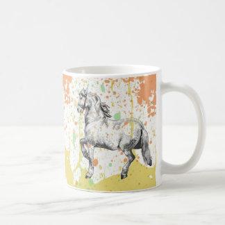 Pastel horse sketch paint splatter design coffee mug