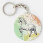 Pastel horse sketch paint splatter design keychains