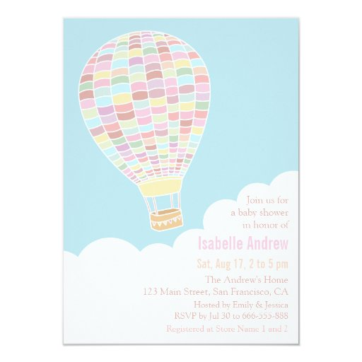 pastel hot air balloon baby shower invitations zazzle