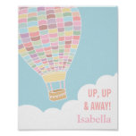 Pastel Hot Air Balloon Girls Room Decor Poster