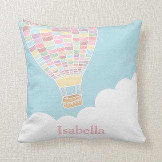 Pastel Hot Air Balloon Nursery Room Decor Pillow