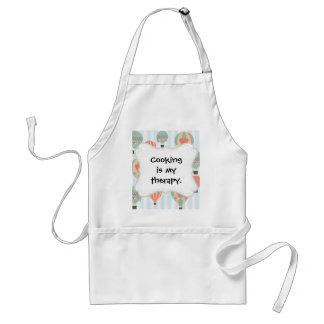 Pastel Hot Air Balloons Rising on Blue Striped Pat Adult Apron