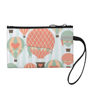 Pastel Hot Air Balloons Rising on Blue Striped Pat Coin Purse