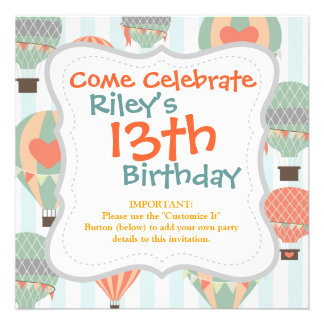Pastel Hot Air Balloons Rising on Blue Striped Pat Personalized Announcements