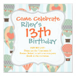 Pastel Hot Air Balloons Rising on Blue Striped Pat Invitation