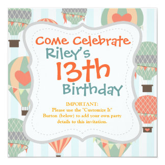 Pastel Hot Air Balloons Rising on Blue Striped Pat 5.25x5.25 Square Paper Invitation Card