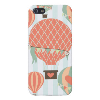 Pastel Hot Air Balloons Rising on Blue Striped Pat iPhone SE/5/5s Case