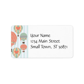 Pastel Hot Air Balloons Rising on Blue Striped Pat Label