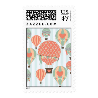 Pastel Hot Air Balloons Rising on Blue Striped Pat Postage
