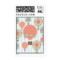 Pastel Hot Air Balloons Rising on Blue Striped Pat Postage Stamp