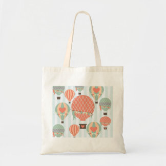 Pastel Hot Air Balloons Rising on Blue Stripes Tote Bags