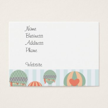 Professional Business Pastel Hot Air Balloons Rising on Blue Stripes Business Card