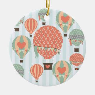 Pastel Hot Air Balloons Rising on Blue Stripes Ceramic Ornament