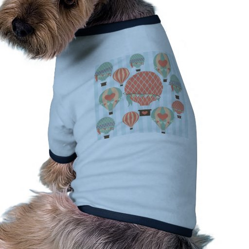 Pastel Hot Air Balloons Rising on Blue Stripes Dog Clothing