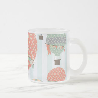 Pastel Hot Air Balloons Rising on Blue Stripes Frosted Glass Coffee Mug