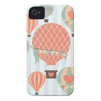 Pastel Hot Air Balloons Rising on Blue Stripes iPhone 4 Cases