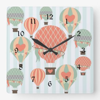 Pastel Hot Air Balloons Rising on Blue Stripes Large Clock