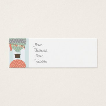 Professional Business Pastel Hot Air Balloons Rising on Blue Stripes Mini Business Card