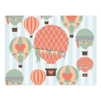 Pastel Hot Air Balloons Rising on Blue Stripes Postcard