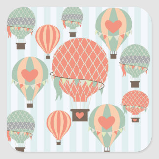 Pastel Hot Air Balloons Rising on Blue Stripes Square Sticker