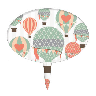Pastel Hot Air Balloons Rising Pink Striped Sky Cake Topper