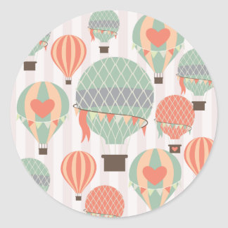 Pastel Hot Air Balloons Rising Pink Striped Sky Classic Round Sticker