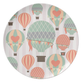 Pastel Hot Air Balloons Rising Pink Striped Sky Dinner Plate