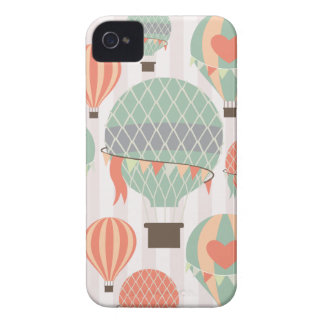 Pastel Hot Air Balloons Rising Pink Striped Sky iPhone 4 Case-Mate Case