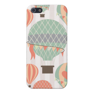 Pastel Hot Air Balloons Rising Pink Striped Sky iPhone SE/5/5s Cover