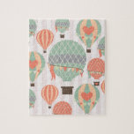 Pastel Hot Air Balloons Rising Pink Striped Sky Jigsaw Puzzle at Zazzle