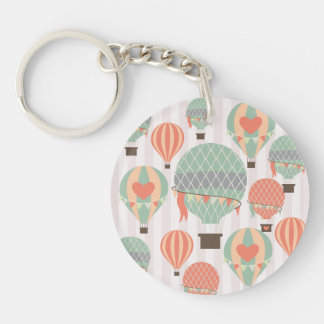 Pastel Hot Air Balloons Rising Pink Striped Sky Keychain